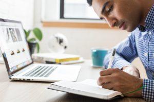 man using online education site